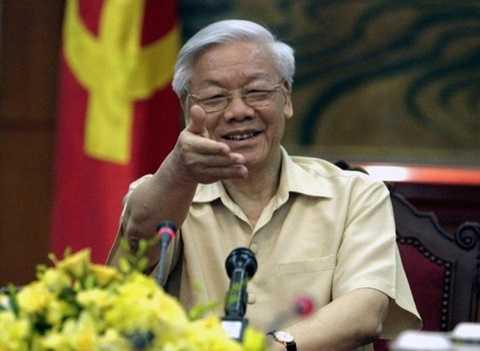 Tổng Bí thư Nguyễn Phú Trọng trong cuộc trả lời phỏng vấn các hãng tin, tờ báo Mỹ ngày 3/7 về chuyến thăm chính thức Mỹ - Ảnh: AP