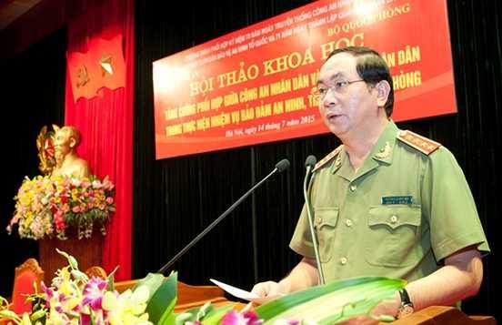 Đại tướng Trần Đại Quang, Uỷ viên Bộ Chính trị, Bộ trưởng Bộ Công an phát biểu chỉ đạo tại hội thảo