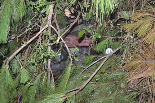 Chiếc xe bị tuột và rơi xuống vách đồi khoảng 5m