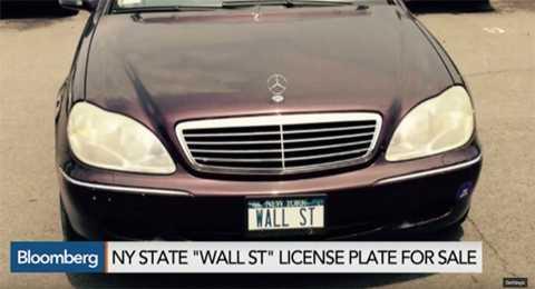 Tấm biển số có các ký tự WALL ST được rao giá 12.000 USD trên eBay