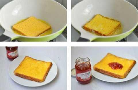 Làm tan bơ trong chảo, cho lát bánh mỳ đã nhúng vào bát trứng vào chiên với lửa vừa khoảng 3-4 phút mỗi mặt. Khi thấy bánh mỳ có màu vàng thì lật mặt chiên tiếp mặt còn lại.