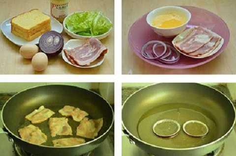 Đập trứng vào bát đánh tan. Thịt xông khói cắt miếng dài bằng miếng bánh mỳ sandwich. Hành tây cắt thành khoang tròn dày 0,8cm, lấy vòng tròn hành tây lớn nhất. Bắt chảo lên bếp làm nóng, rán miếng thịt xông khói vàng, lấy ra đĩa. Lá xà lách rửa sạch, để ráo nước.