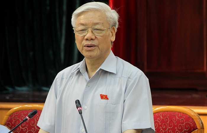 Tổng bí thư Nguyễn Phú Trọng tiếp xúc cử tri ngày 18/7 (Ảnh: Phạm Thịnh)