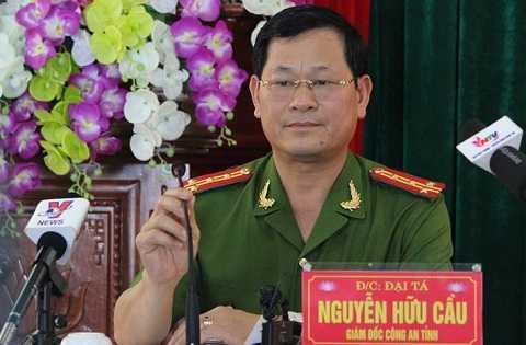 Đại tá Nguyễn Hữu Cầu - Giám đốc Công an tỉnh Nghệ An, tại buổi họp báo