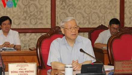 Tổng bí thư Nguyễn Phú Trọng phát biểu tại buổi làm việc của Bộ Chính trị với Đảng bộ tỉnh Tiền Giang. Ảnh: VOV