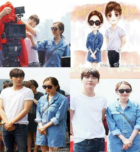 Cặp đôi Phong - Mịch trong buổi quay hình đầu tiên tại Thượng Hải của phim Phanh nhiên tinh động.