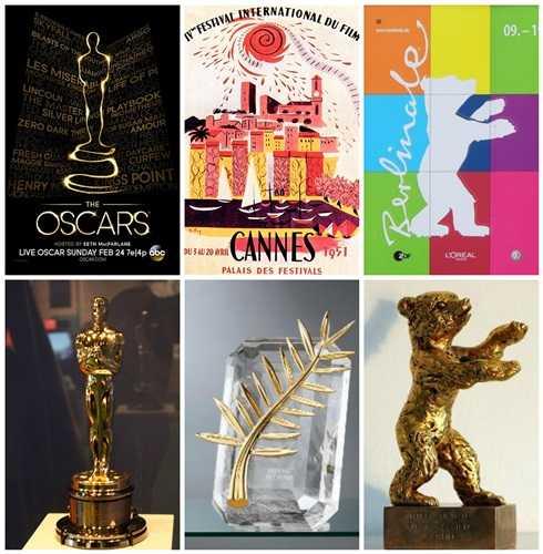 Lần lượt từ trái sang phải các biểu tượng và giải thưởng của các liên hoan phim lớn: Oscars – Cannes - Berlin.