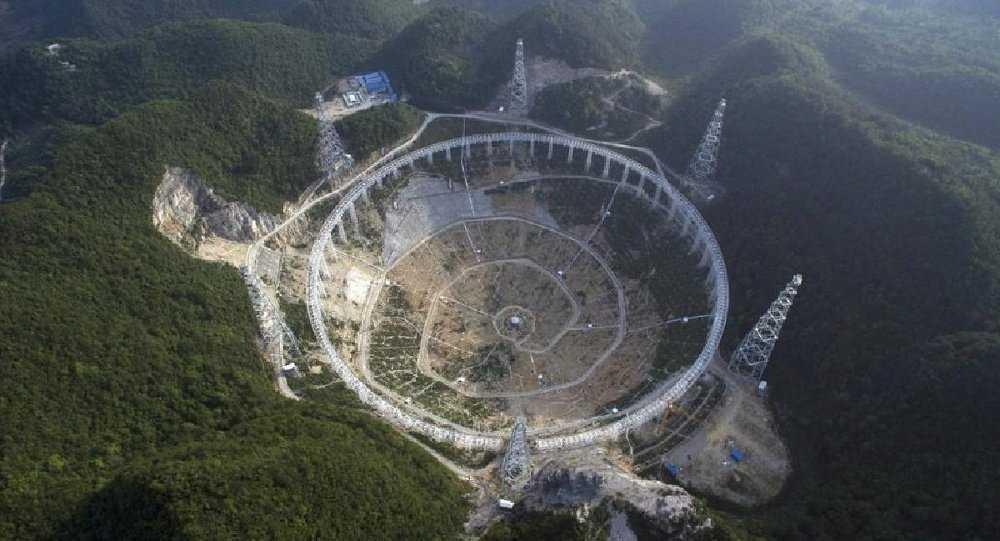 Hình ảnh kính viễn vọng lớn nhất thế giới của Trung Quốc - Five hundred meter Aperture Spherical Telescope (FAST) - Ảnh: Sputnik News