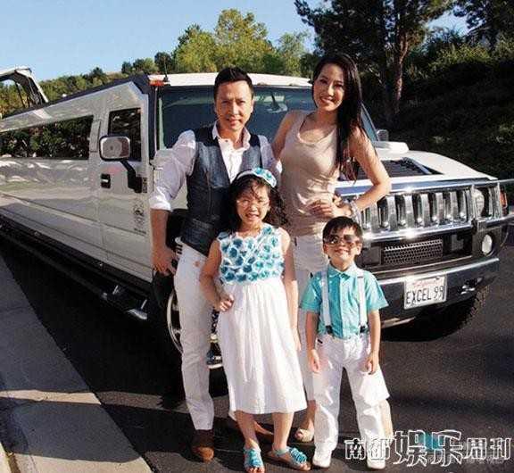 Chân Tử Đan và người vợ hiện tại - Uông Thi Thi cùng hai con.