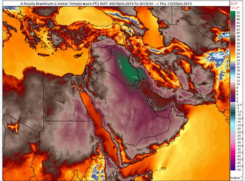 Biểu đồ nền nhiệt ở Trung Đông