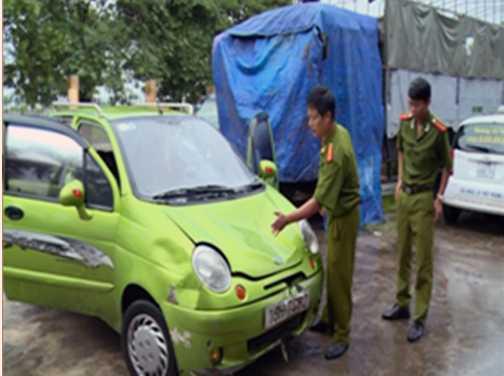Chiếc xe do Nguyễn Hải Đăng điều khiển gây tai nạn