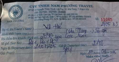 Vé xe đi từ Nha Trang - TPHCM của vợ chồng anh David và con