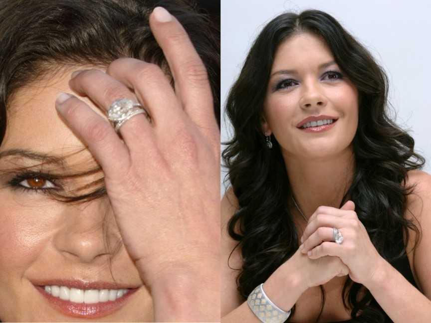 Nhẫn cưới của Catherine Zeta-Jones (2,5 triệu USD).Khi bắt đầu mối quan hệ với tài tử Michael Doughlas, Catherine đã thực sự là một triệu phú rồi. Tuy nhiên, cô luôn nhận được những món quà bạc tỷ từ người bạn đời của mình, điển hình là chiếc nhẫn đính hôn tuyệt đẹp này