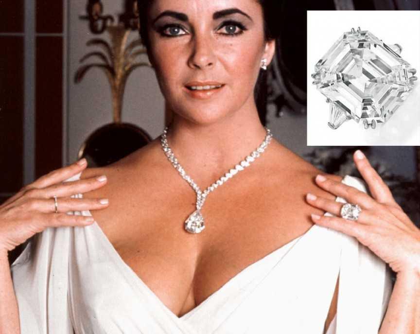 Elizabeth Taylor - 8,8 triệu USD. Kỷ lục về việc mua sắm nhẫn đính hôn vẫn dành cho nữ diễn viên Elizabeth Taylor với chiếc nhẫn trị giá 8,8 triệu USD mà bà nhận được từ người chồng Richard Burton của mình. Tuy nhiên, cặp đôi liên tục khúc mắc, chia tay rồi quay lại nhưng cuối cùng cũng không thể sống bên nhau lâu dài