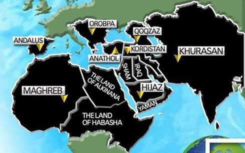 Bản đồ thể hiện tham vọng bành trướng của IS trong thời gian tới