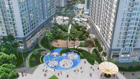 Quảng trường trung tâm sôi động với đồi vọng cảnh, thác nước, tháp đồng hồ