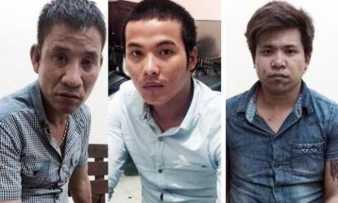 Thái, Hưng, Long tại cơ quan điều tra. Ảnh: C.A