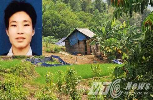 Khu vực lán xảy ra vụ thảm sát và nghi can Đặng Văn Hùng (ảnh nhỏ)