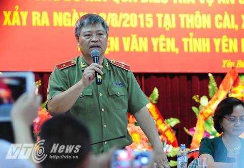 Thiếu tướng Đặng Trần Chiêu, GĐ Công an tỉnh Yên Bái trả lời phóng viên