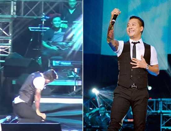 Trong live show đầu tay của Khắc Việt, khi đang biểu diễn ca khúcTìm lại bầu trời,   Tuấn Hưngđột nhiên ngã sõng soài trên sân khấu. Cú ngã đã khiến anh   mất bình tĩnh một vài giây, còn khán giả được một phen hú vía.