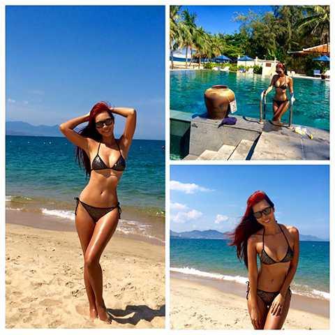 Nữ siêu mẫu là một người có sở thích du lịch và rất hay đi biển.