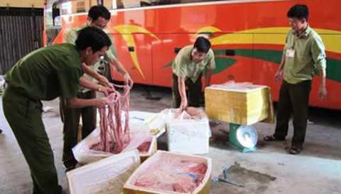 Hơn 500kg lòng lợn thối vận chuyển từ Đà Nẵng ra Hà Nội tiêu thụ bị thu giữ và tiêu huỷ