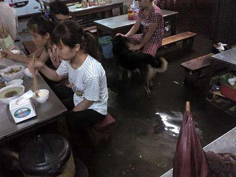 Một quán cơm ở phố Quan Nhân (Thanh Xuân, Hà Nội) bị ngập úng, thực khách vừa ăn cơm vừa phải nhúng chân xuống dòng nước bẩn. (Ảnh: Otofun)