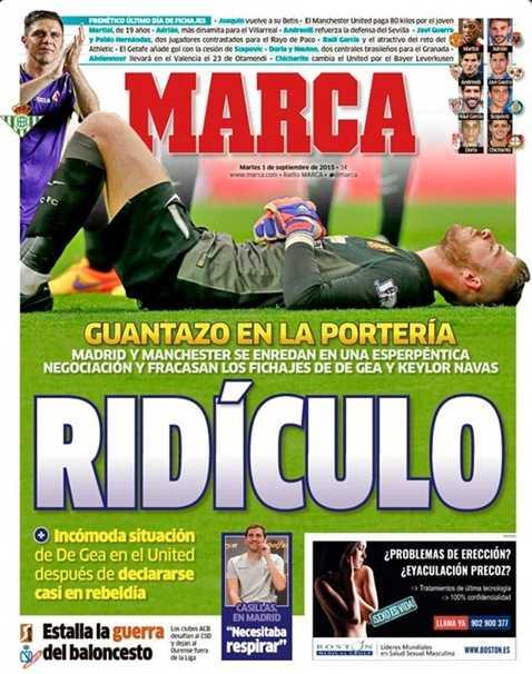 Tờ Marca đăng ảnh De Gea không thể sang Real Madrid