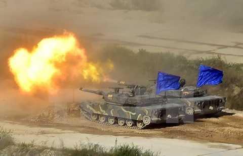Xe tăng K1 của Hàn Quốc tham gia tập trận ở Pocheon ngày 28/8