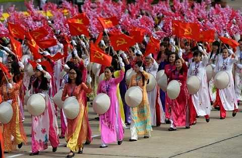 Quảng trường Ba Đình rực rỡ sắc cờ hoa - Ảnh: AFP