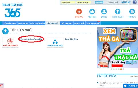 Trang web VTC 365 là một trong những website thanh toán trung gian của EVN