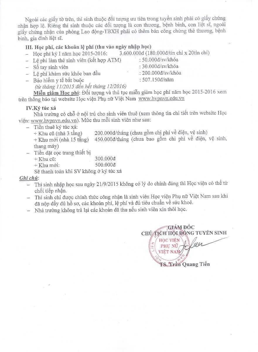 Điểm chuẩn NV2 của Học viện Phụ nữ Việt Nam
