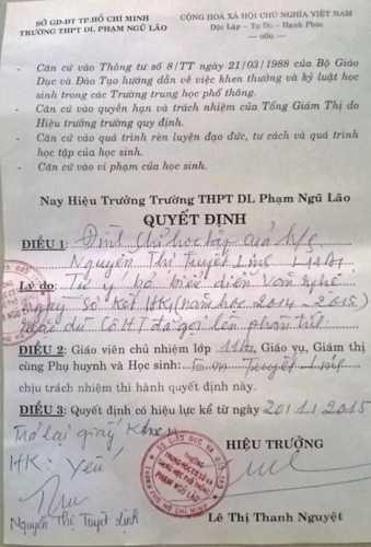 Quyết định buộc thôi học em Nguyễn Thị Tuyết Linh của trường Phạm Ngũ Lão.