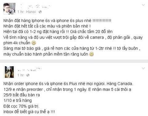 Nhiều người dùng mạng xã hội bắt đầu đăng tin nhận đặt iPhone 6S và 6S Plus xách tay về Việt Nam với giá tốt