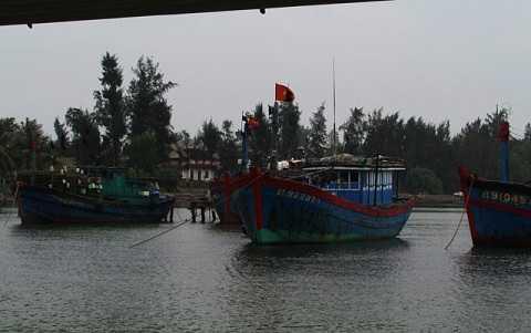 Tàu thuyền Quảng Trị vào nơi trú ẩn an toàn (Ảnh: T.L)