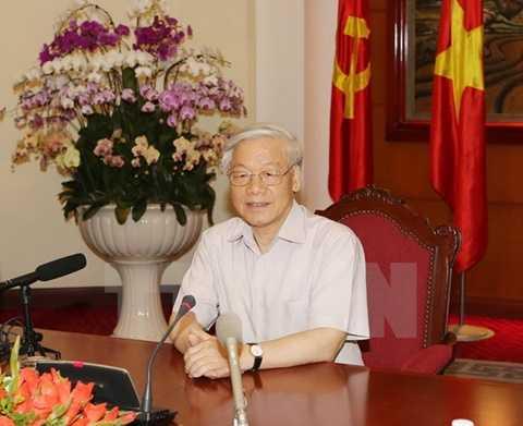 Tổng Bí thư Nguyễn Phú Trọng tiếp và trả lời phỏng vấn một số hãng thông tấn, báo chí lớn của Nhật Bản. (Ảnh: Trí Dũng/TTXVN)