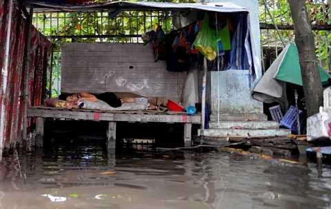 Một tiểu thương ngủ tại sạp bán hàng chờ nước rút - Ảnh: Hữu Khoa