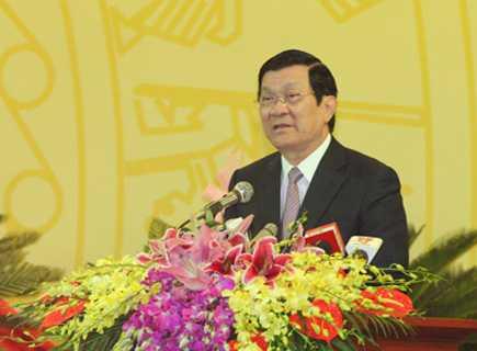 Đồng chí Trương Tấn Sang, Ủy viên Bộ Chính trị, Chủ tịch Nước Cộng hòa xã hội chủ nghĩa Việt Nam phát biểu chỉ đạo Đại hội.