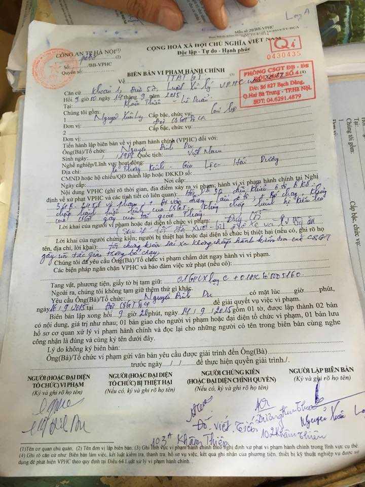 Biên bản xử phạt ghi rõ lỗi bỏ chạy, không chấp hành hiệu lệnh của tài xế Du.