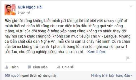 Quế Ngọc Hải chia sẻ trên facebook cá nhân của mình cảm giác của anh hiện tại