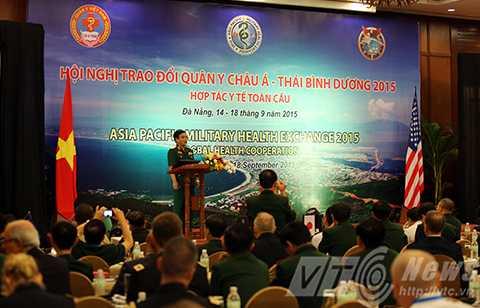 Trung tướng Lê Chiêm, Phó Tổng tham mưu trưởng Quân đội nhân dân Việt Nam phát biểu khai mạc sự kiện