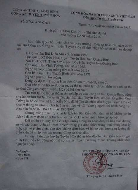Thông báo của công an huyện Tuyên Hóa, Quảng Bình về trường hợp của Bùi Kiều Nhi