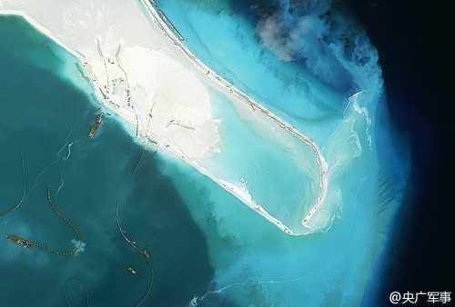 Hình ảnh cho thấy Trung Quốc đang xây dựng trái phép ở đá Vành Khăn thuộc quần đảo Trường Sa của Việt Nam