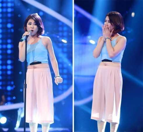 Một thí sinh của Vietnam Idol 2015 với màn khoe bụng mỡ với quần ống rộng và áo hở eo