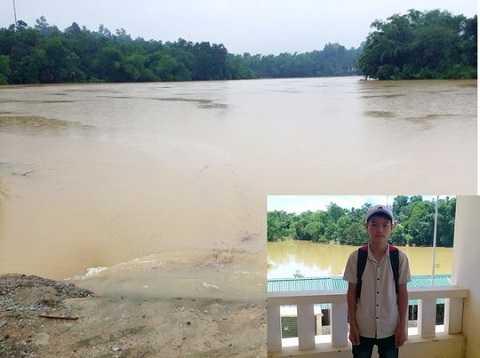 Em Nguyễn Hữu Thắng (ảnh nhỏ) đã dũng cảm bơi ra cứu thầy cô gặp nạn. Ảnh lớn: Khu vực vợ chồng thầy Hữu gặp nạn