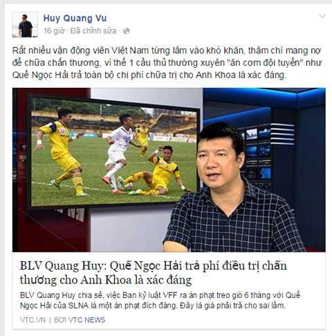 Những ý kiến của BLV Quang Huy đăng tải trên báo điện tử VTC News được anh chia sẻ với cộng đồng mạng.