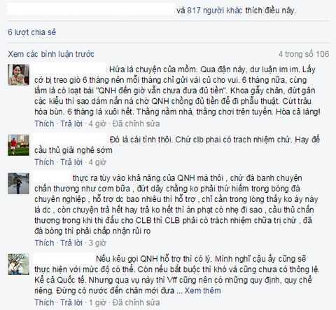 Khá đông bạn đọc và người hâm mộ BLV Quang Huy đã chia sẻ quan điểm của mình.