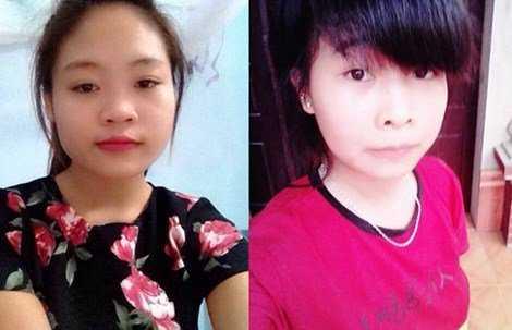 Hai nữ sinh mất tích sau chuyến vào trung tâm Hà Nội chơi. (Trâm ảnh trái - Hoàn ảnh phải)