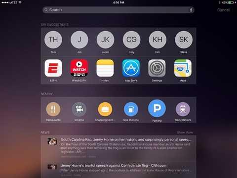 Màn hình chủ sẽ xuất hiện thêm một giao diện và người dùng có thể nhìn thấy các ứng dụng được Siri gợi ý