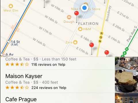 Ứng dụng bản đồ làm việc khá tốt khi nó gợi ý cho người dùng những địa điểm quan trọng như rạp phim, quán cà phê, cửa hàng ăn uống...